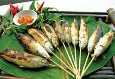 Grilled Mullet Fish Wrapped in Lotus Leaves