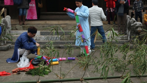 Bamboo pole put up in reminiscence of Tet in old days