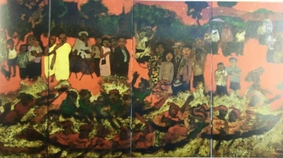 VN, French artists exhibit lacquer paintings