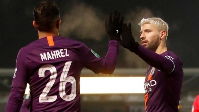 Aguero on target as City ease into League Cup final