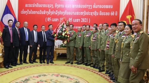 Greetings conveyed to Lao Public Security force on 60th founding anniversary
