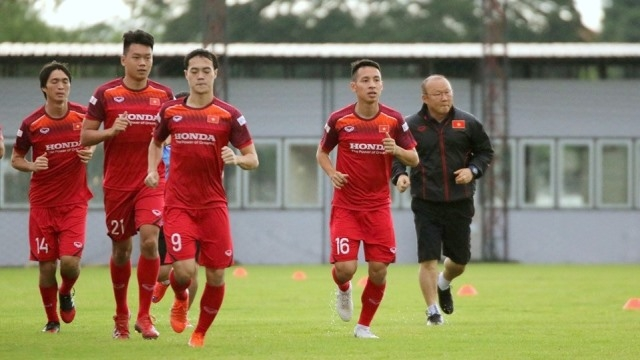Vietnam's squad take on their first training session in